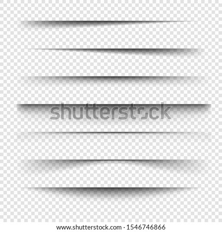 Vector shadows are set. Page dividers. Realistic isolated shadow.