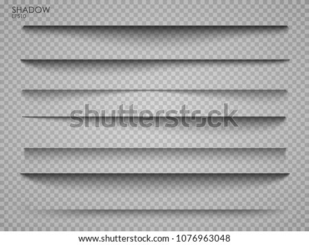 Vector shadows isolated. Page divider with transparent shadows isolated. Set of shadow effects. Transparent shadow realistic illustration