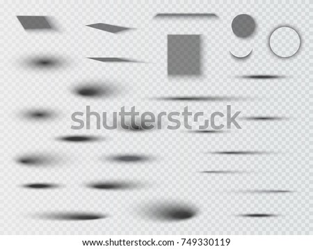 vector shadows isolated set of