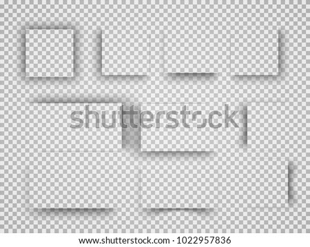 Vector shadows isolated. Set of shadow effects. Transparent paper and objects box square shadows. Wall and floor drop shadow vector collection.