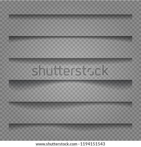 Vector shadows isolated. Transparent realistic paper shadow effect set. Page divider with transparent shadows isolated. Vector illustration for your design, template and site.