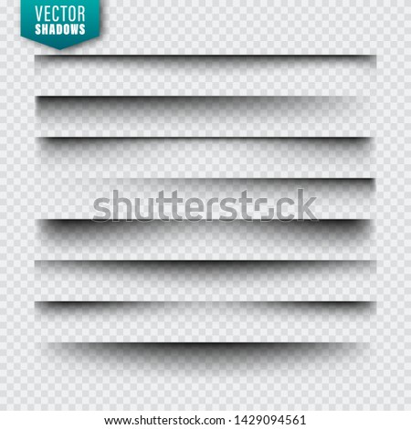 Vector shadows set. Page dividers on transparent background. Realistic isolated shadow. Vector illustration.