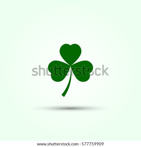 Vector shamrock icon. Green shamrock illustration with shadow. Isolated shamrock for Saint Patrick s Day.