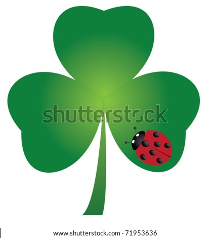 vector shamrock with ladybug