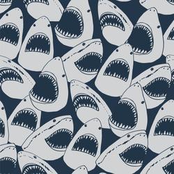 Vector shark sea animal wild hand drawn doodle silhouette seamless pattern
