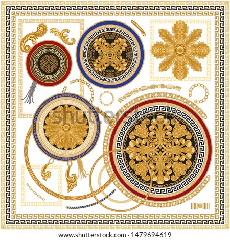 Vector Shawl print from Baroque floral scroll elements, golden chains, cables, Greek meander, acanthus leaves and rosette. Scarf, bandana, kerchief, design. 16 pattern brushes in the brush palette