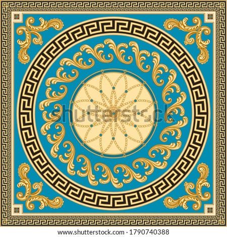 Vector shawl print on a beige and black background.Fashionable pattern from gold chains, Greek meanders, Baroque scrolls, turquoise gem. 7 pattern brushes in the brush palette for bandana, carpet, mat
