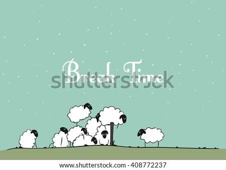 vector sheep   break time