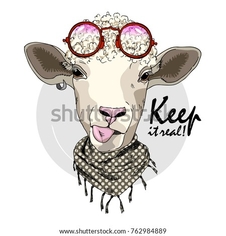 vector sheep with glasses hand