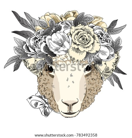 Vector sheep with wreath. Hand drawn illustration of dressed sheep.