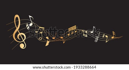 vector sheet music - gold musical notes melody on dark background Stock photo ©