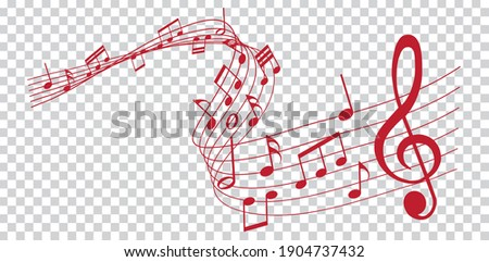 vector sheet music - red musical notes melody on transparent background Stock photo ©