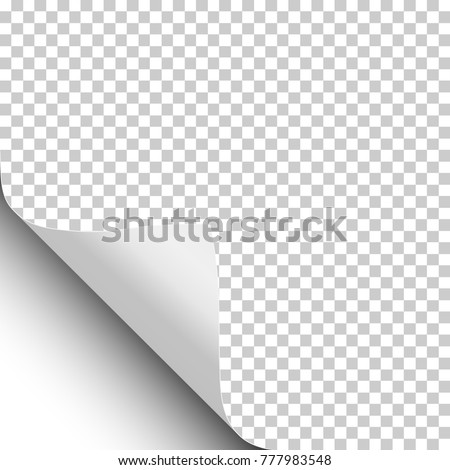 Vector sheet of white paper with lower left curled corner, soft shadow and transparent sheet under it.
