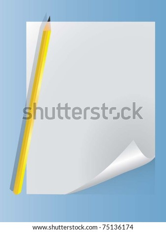 vector sheet with a pencil - stock vector