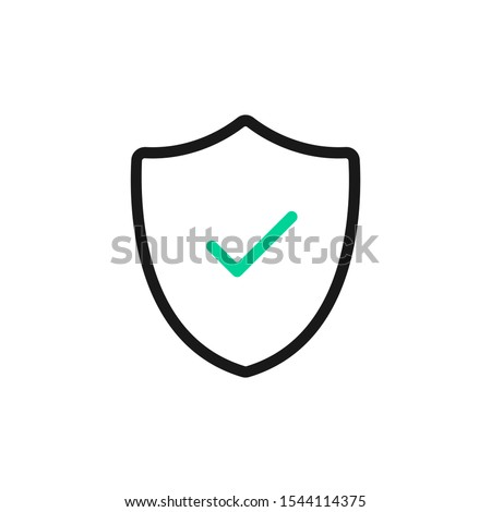 Vector shield and check mark icon. Security, safety, reliable, protection concepts. Vector line icon