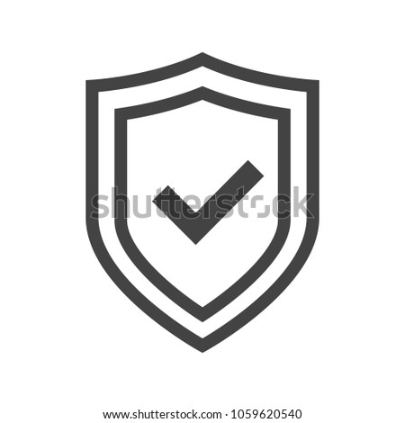 Vector shield icon, logotype with tick, security emblem vector collection, protection flat logo, reliability thin line button with check sign. Transparent background. Сток-фото ©