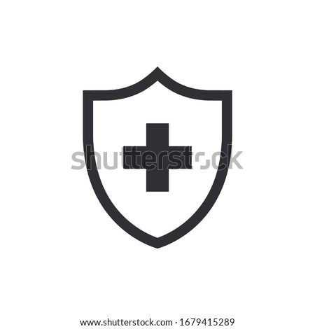 Vector shield icon. Security vector icon. Protection icon. Shield vector icon. Safety system. Healthcare. Health insurance. Medical shield. Shield with a cross. Virus. Virus protection. Guard badge.