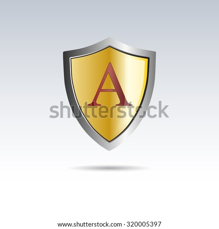 vector shield initial letter a