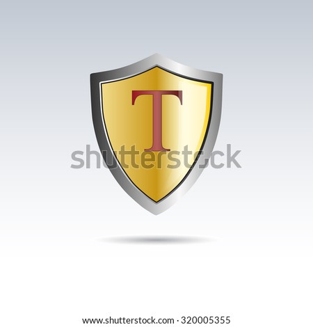 vector shield initial letter t