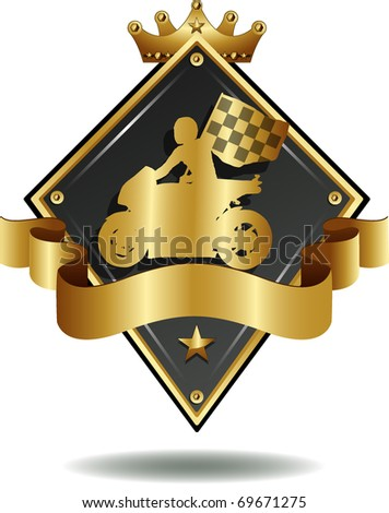 vector shield of silhouette of corridor of motorcycles