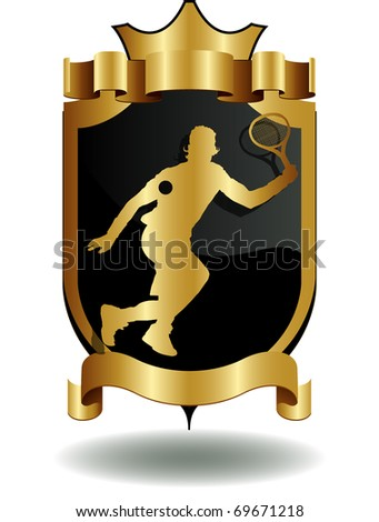 vector shields tennis player's silhouette - stock vector