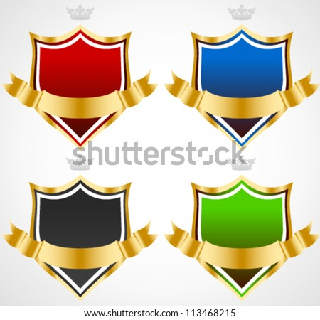 Vector Shields with Golden Banners - Medieval, knight, badges, armor, advertising concepts