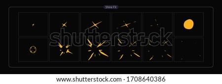 Vector Shine VFX. Shine animation sprite sheet for Video Game, Cartoon, Animation and motion design. 2D Classic Shine light FX. EPS 10 Vector illustration.