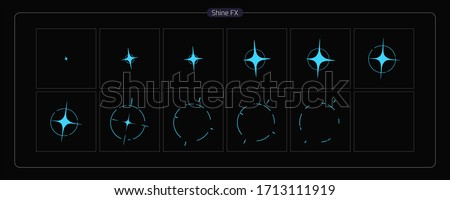 Vector Shine VFX. Shine Effect Sprite Sheet for Video Game, Cartoon, Animation and motion design. Colorful 2D Classic Shine light FX. EPS 10 Vector illustration.