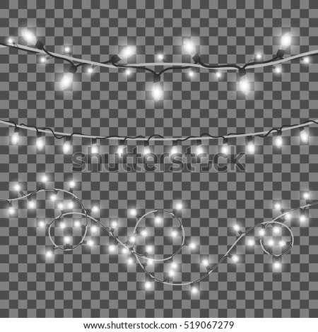 Vector shining Christmas lights. Isolated on black transparent background, eps 10.