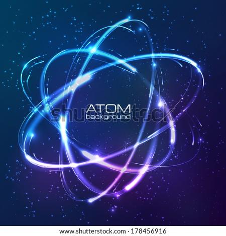 vector shining neon lights atom