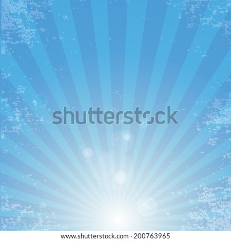 Vector shiny blue sky background with ray of light and . blue abstract background template for cover or website design. grunge background vector