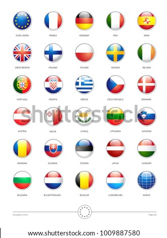 vector shiny buttons with European Union Flags on white background #1009887580