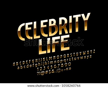 Vector shiny Golden Emblem Celebrity Life. Chic Bright Font. Stylish exclusive Alphabet Letters, Numbers and Symbols