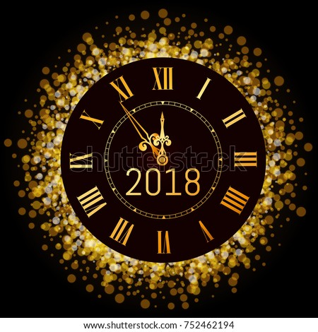 Vector 2018 shiny Merry Christmas and Happy new year 2017 gold clock with glitter frame. Vintage elegant luxury gold watch midnight New Year. Vector illustration EPS 10