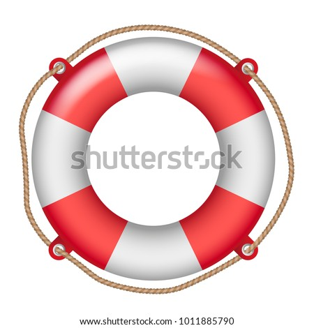 Vector shiny realistic life buoy with rope - assistance or help symbol isolated on white background