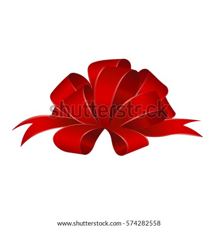 Vector Shiny Red Satin Gift Bow Close up Isolated on White Background.