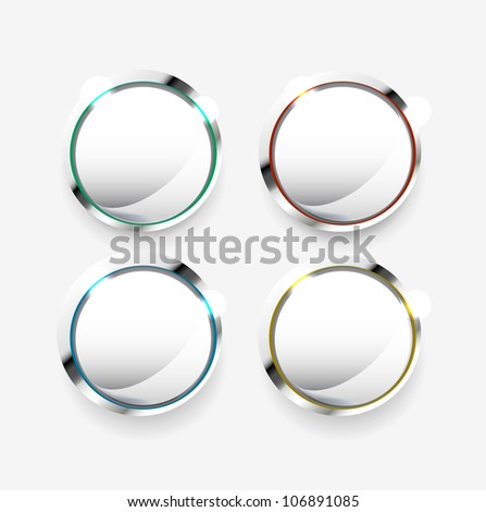 Vector shiny silver knobs with color rim