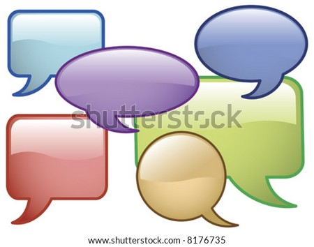 Vector Shiny Speech Bubbles Glass effect Icons