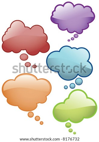 Vector Shiny Thought Bubbles Glass effect Icons