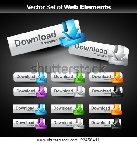 vector shiny web buttons set