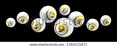 Vector shiny white lottery / bingo ball with golden text number from 1 to 9 isolated on black background