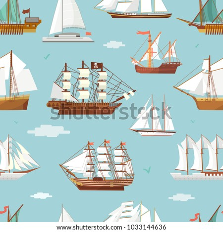 Vector ship boat miniature vessel old vintage sailboat souvenir sea shipping travel white canvase seamless pattern background. Adventure sailboats