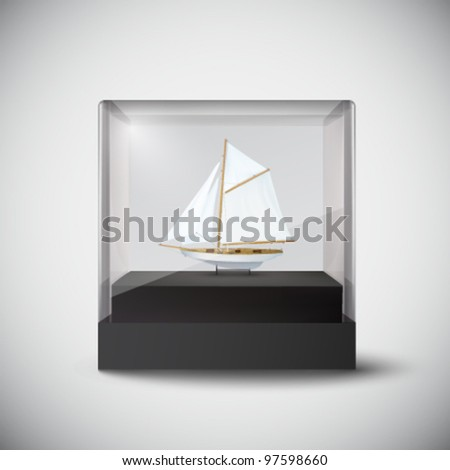 vector ship in a glass cube