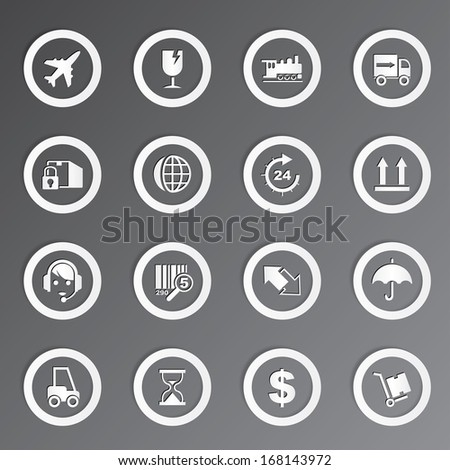 Vector shipping and transportation icons set.
