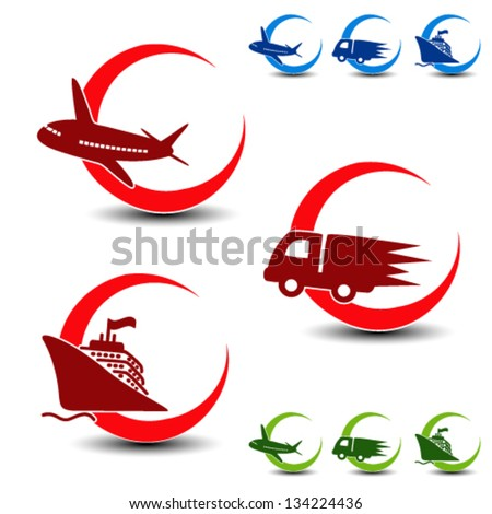 Vector shipping, delivery symbols - car, ship, plane