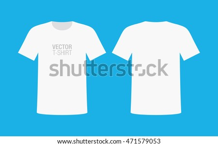 Vector shirt mockup. Men's white short sleeve t-shirt template. Front and back sides.