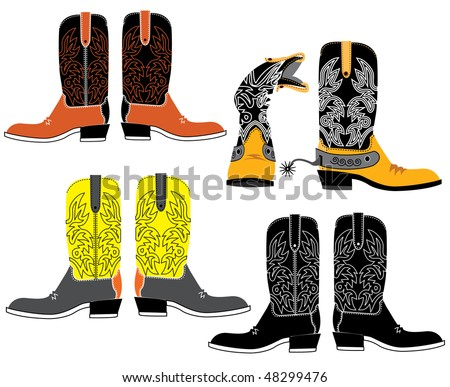 Vector shoes for cowboys on white