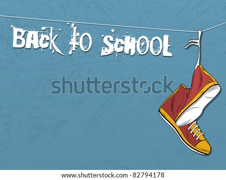 Vector - Shoes hanging on wire background. Back to school