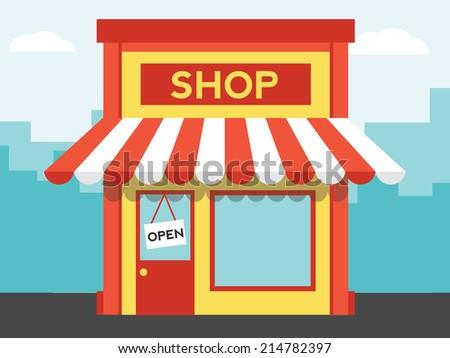Vector shop or market, illustration background