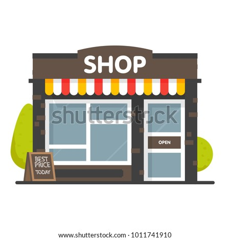 Vector shop or market store front exterior facade, vector illustration background.